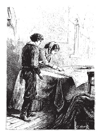mrs: Mrs. Weldon was leaning on this map, vintage engraved illustration.