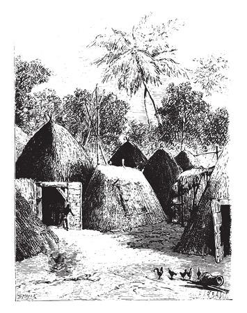 appearance: City Kazounde presents an unusual appearance, vintage engraved illustration. Illustration