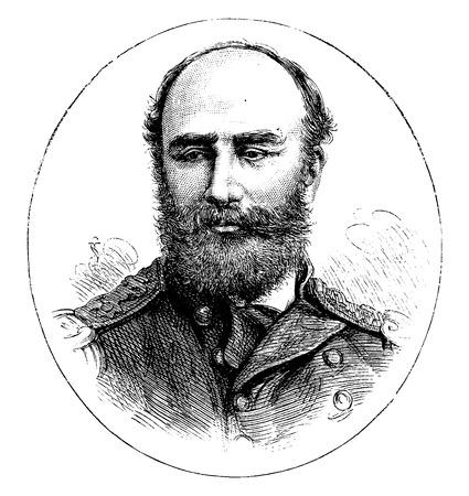 캡틴 Nares, 빈티지 새겨진 일러스트 레이션. Journal des Voyage, 여행 일지, (1880-81).
