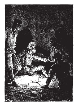scientist man: The scientist, mounts his favorite hobby, vintage engraved illustration.