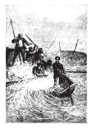 overturn: The whale nearly capsized, vintage engraved illustration. Illustration