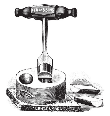 sterilized: Instrument for cutting plugs of potato for potato cultures, vintage engraved illustration.