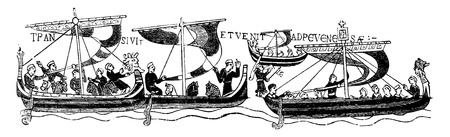 The vessels of William the Conqueror, (After the famous Bayeaux Tapestry), vintage engraved illustration. Journal des Voyage, Travel Journal, (1880-81). Illustration