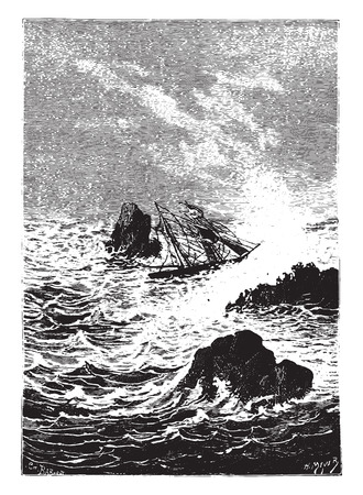 furious: In this place, the sea was more furious, vintage engraved illustration.