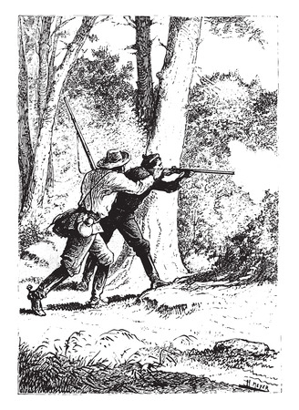 antique rifle: No gunshot, vintage engraved illustration.