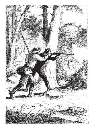 No gunshot, vintage engraved illustration.