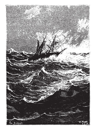 struck: A more violent gust struck right now, vintage engraved illustration.