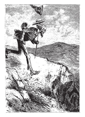 cousin: Cousin Benedict was literally furious, vintage engraved illustration.
