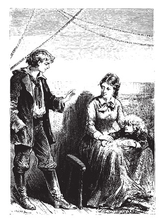 novice: The novice always reassured Mrs. Weldon, vintage engraved illustration.