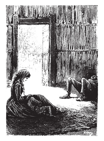 dozing: Mrs. Weldon was dozing near little Jack was sleeping, vintage engraved illustration.