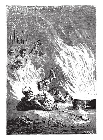 The king had caught fire like an oil tank, vintage engraved illustration. Ilustração