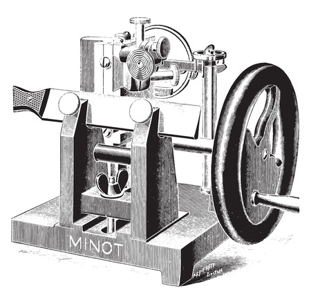 paraffin: Microtome, vintage engraved illustration.
