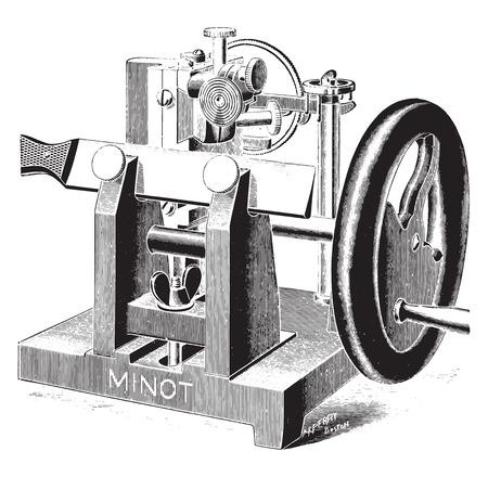 microscopy: Microtome, vintage engraved illustration.