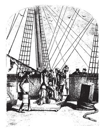 persona viajando: La goleta, Peregrino, ilustración de la vendimia grabado. Vectores