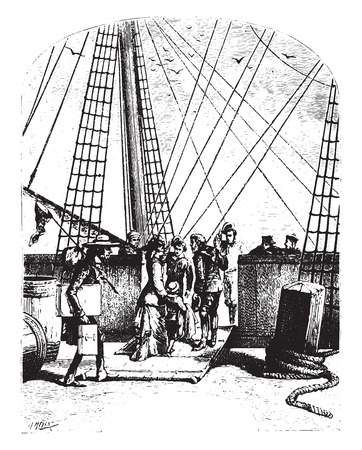 schooner: The schooner, Pilgrim, vintage engraved illustration.