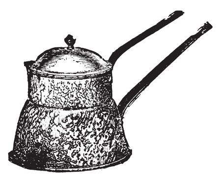 double boiler: Agateware water bath (Ferina kettle), vintage engraved illustration. Illustration