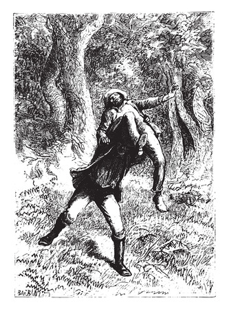 prevail: It was prevails through the forest, vintage engraved illustration.