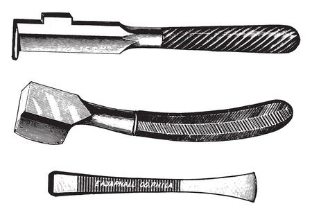 chisel: Chisel, vintage engraved illustration.