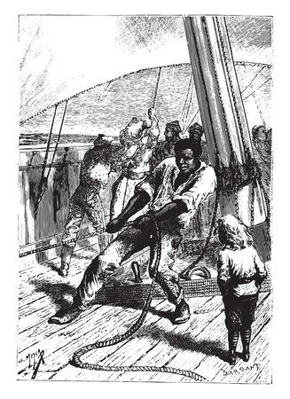 hoist: This vigorous negro was worth a hoist himself, vintage engraved illustration.