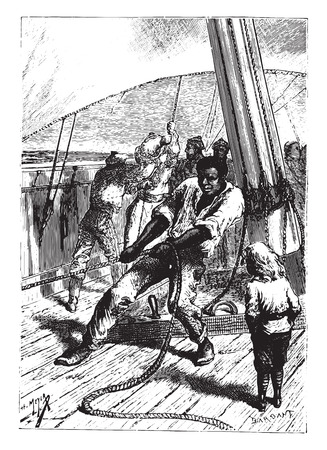 vigorous: This vigorous negro was worth a hoist himself, vintage engraved illustration.