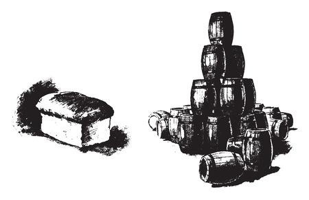 A five pound loaf of bread contains more food than twenty seven barrels of beer, vintage engraved illustration.