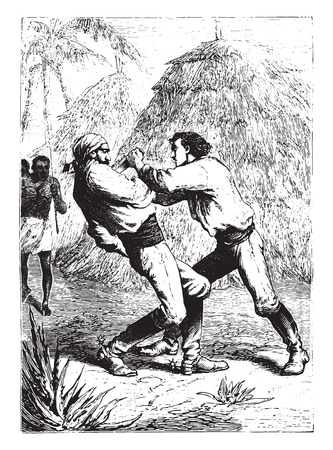 seized: Dick Sand seized a knife and plunged it into his heart, vintage engraved illustration.