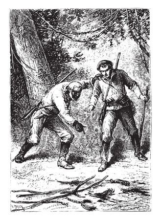 antique rifle: There was, on the ground, severed hands, vintage engraved illustration. Illustration