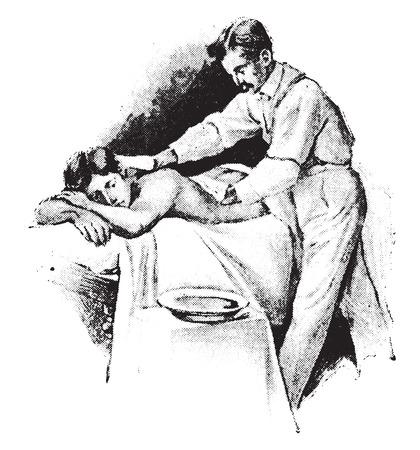 friction: Cold friction to back, using both hands, vintage engraved illustration.