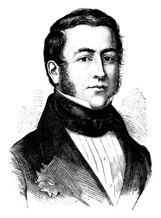 statesman: Jean-Pierre, Count of Montalivet, vintage engraved illustration. History of France – 1885.