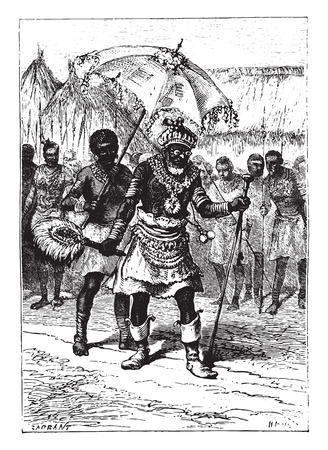 This king was fifty years old, vintage engraved illustration.