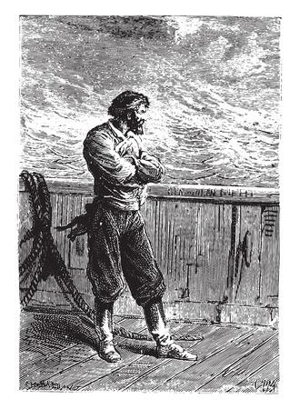 Negoro, always silent, vintage engraved illustration.