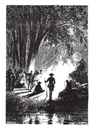 The halt was organized for the night, vintage engraved illustration. 向量圖像