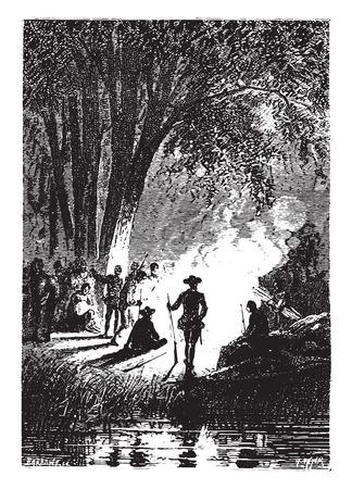 halt: The halt was organized for the night, vintage engraved illustration. Illustration