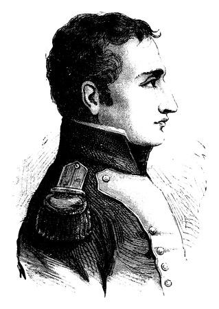 comandante: La Bedoyere, vintage illustrazione inciso. Storia della Francia - 1885.