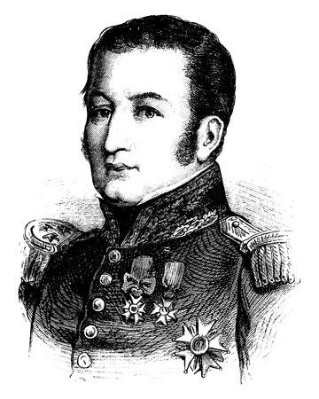 general: General Gerard, vintage engraved illustration. History of France – 1885.