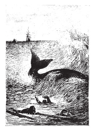 defeated: It tremendously defeated the troubled waters., vintage engraved illustration.