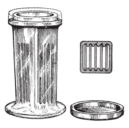 paraffin: Dish for removing paraffin and corrosive sublimate and for dehydrating, vintage engraved illustration.