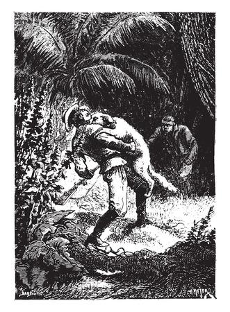 kampfhund: Dingo, das Tracking, packte ihn an der Kehle, Jahrgang gravierte Darstellung. Illustration