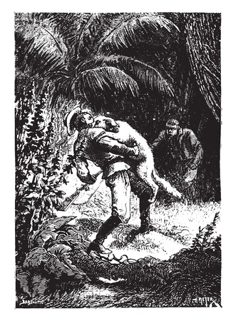 seized: Dingo, the tracking, seized him by the throat, vintage engraved illustration.