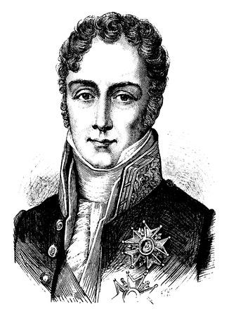statesman: Martignac, vintage engraved illustration. History of France – 1885.