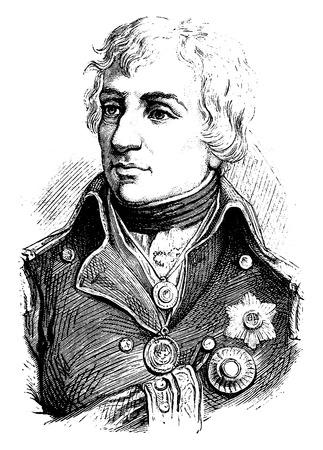 Nelson, vintage engraved illustration. History of France – 1885. Иллюстрация