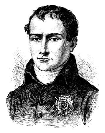 napoleon: Joseph Bonaparte, vintage gegraveerde illustratie. Geschiedenis van Frankrijk - 1885. Stock Illustratie