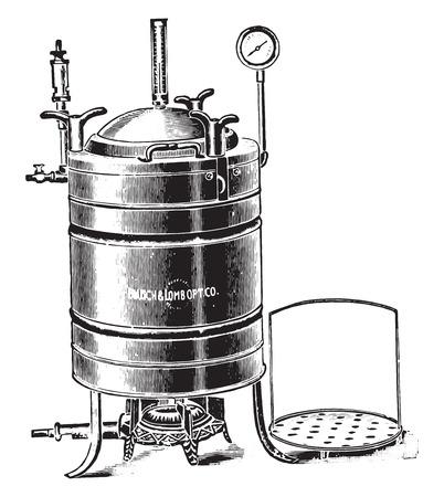 under pressure: Autoclave or digestor used for sterilizing by steam under pressure, vintage engraved illustration. Illustration