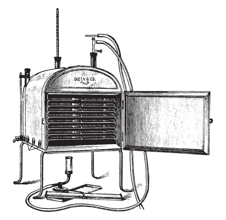 paraffin: Drying oven, vintage engraved illustration. Illustration