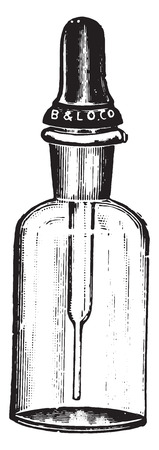 Dropping bottle with Barnes dropper, which closes the mouth of the bottle like a rubber stopper, vintage engraved illustration. Illustration