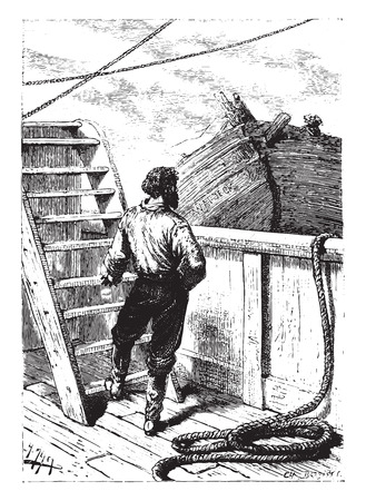 rope ladder: El perro que conoc�a y que, por tanto, reconocido maestro polla ?, cosecha ilustraci�n grabada.
