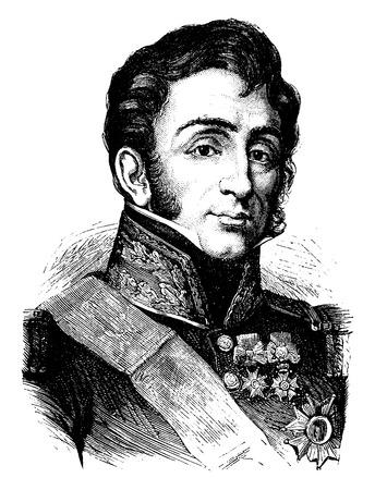 general: General Lamarque, vintage engraved illustration. History of France – 1885.