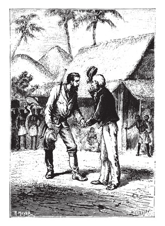 warmly: Shake their hands warmly, vintage engraved illustration.