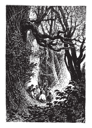 Supper was immediately prepared, vintage engraved illustration. Illusztráció