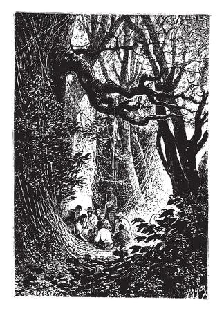 black and white forest: Supper was immediately prepared, vintage engraved illustration. Illustration